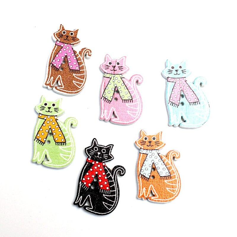50 Uds. Botones de madera de gatos mezclados de 30x18mm para costura de ropa manualidades para álbum de recortes accesorios de costura Diy decoración de madera