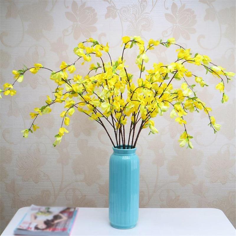 Falso tallo largo Primrose simulación Color amarillo invierno jazmín para boda hogar escaparate flores artificiales decorativas