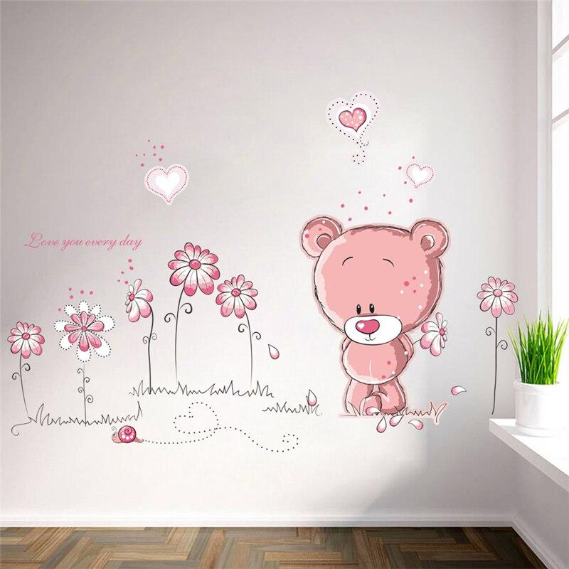 Мультфильм розовый медведь цветок стеклянные настенные наклейки для детей комнаты диван домашний Декор ПВХ настенные наклейки Свадебные украшения diy росписи искусства