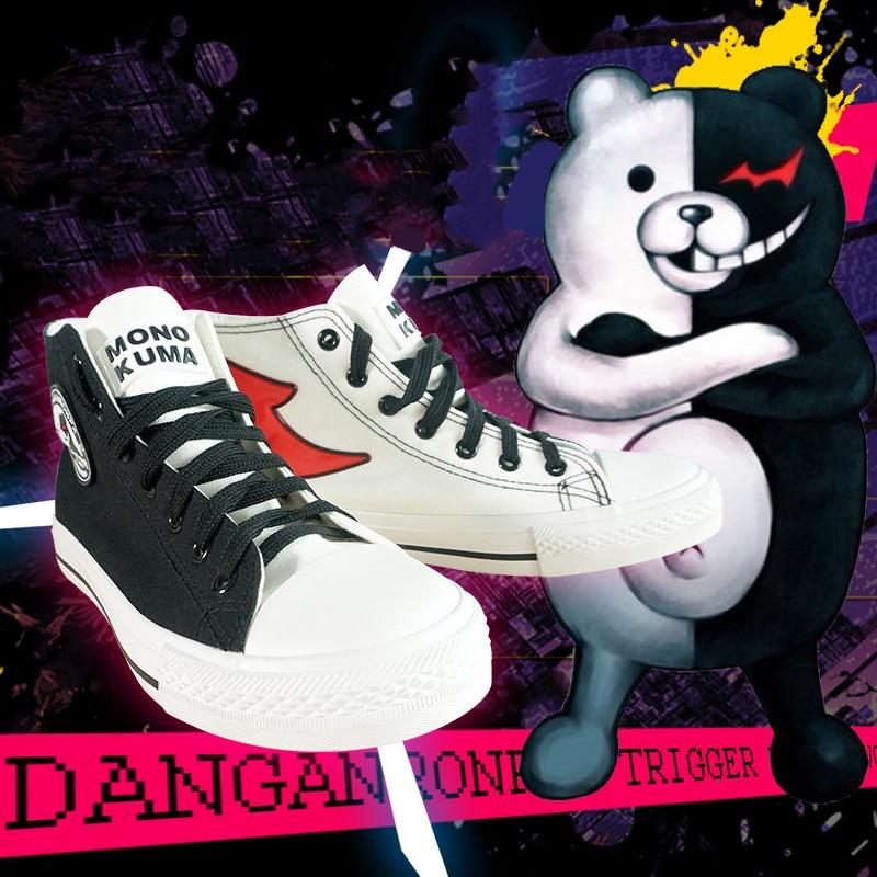 Anime Danganronpa La animación Cosplay zapatos Unisex Monokuma Cosplay zapatos de lona zapatos de Carnaval de Halloween fiesta calzado diario ocio