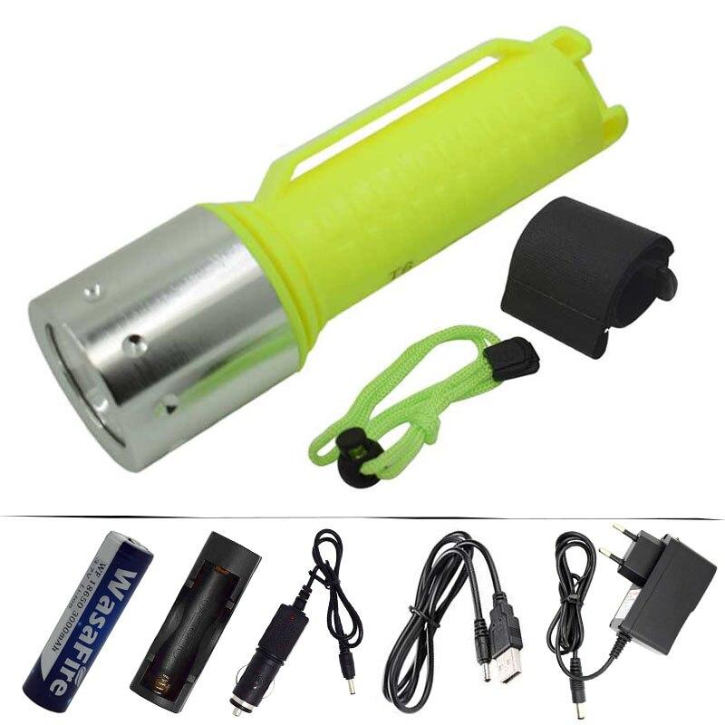 Poderosa 1600lm t6 led mergulho lanterna 3 modos à prova dwaterproof água subaquática mergulho tocha lâmpada + 18650 bateria ac/carregador de carro