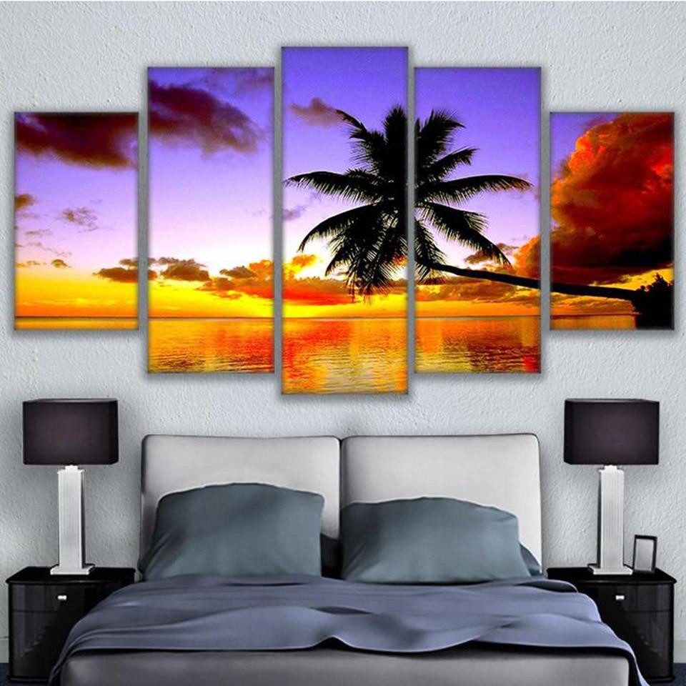 5 paneles palmeras paisaje cuadro decoración del hogar impresión en lienzo para sala de estar pintura moderna marco arte cartel pared
