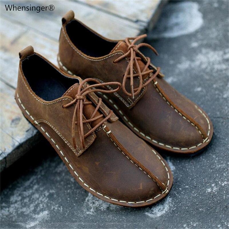 Whensinger-2019 femme printemps hiver chaussures à lacets décontracté solide de base à la main première couche de cuir mode bout rond 986
