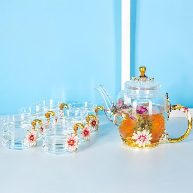 طقم إبريق شاي Kongfu من المينا المصنوعة يدويًا ، طقم إبريق شاي زجاجي معزول شفاف ، إناء شاي زهور قصير ، هدية عمل
