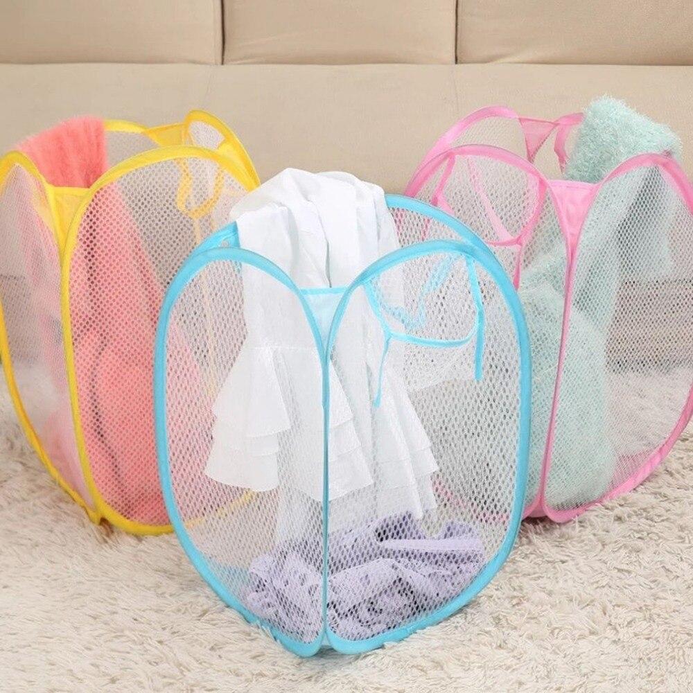 Cesta plegable para lavar la ropa, cesto transpirable, malla de nailon, juguetes para niños, organizador, cesta de almacenamiento de ropa sucia, contenedor