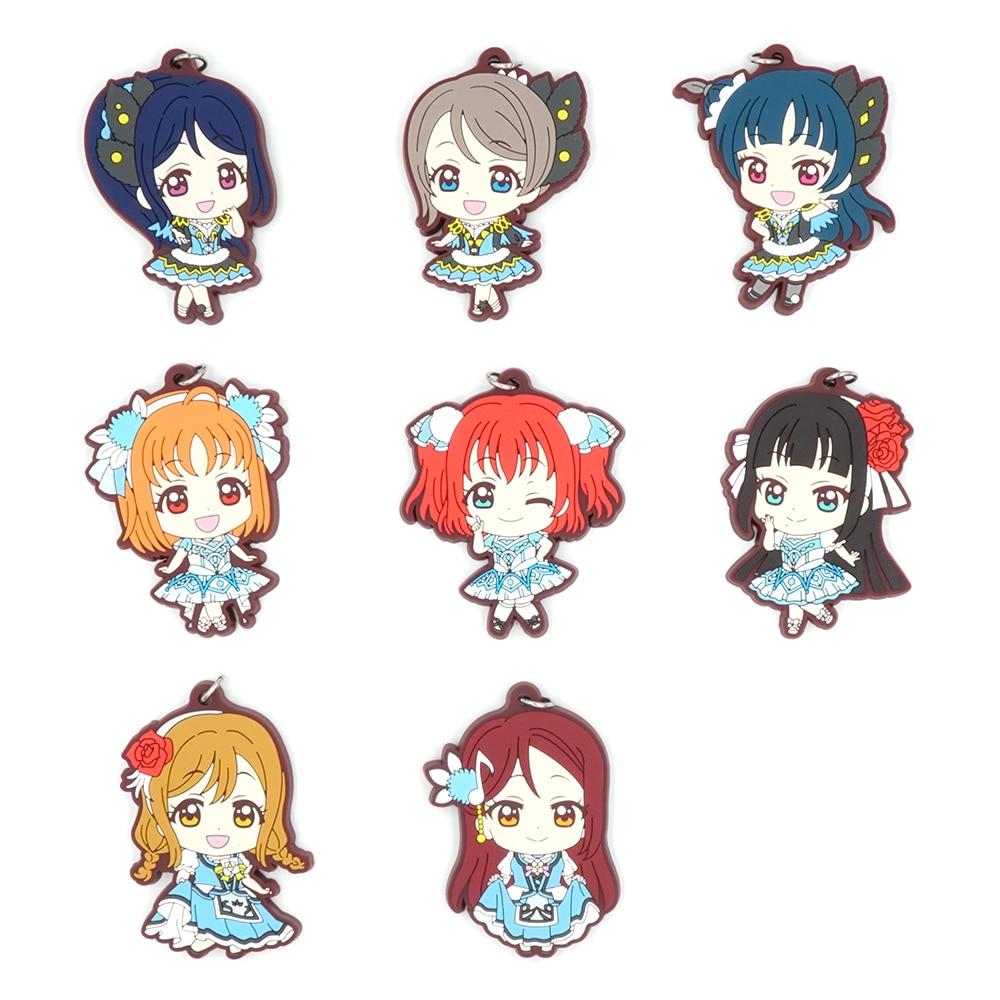 Amor en Lovelive luz del sol especial-Anime Kanan Chika Yoshiko Ruby Dia Hanamaru Kunikida OST Correa llavero de goma