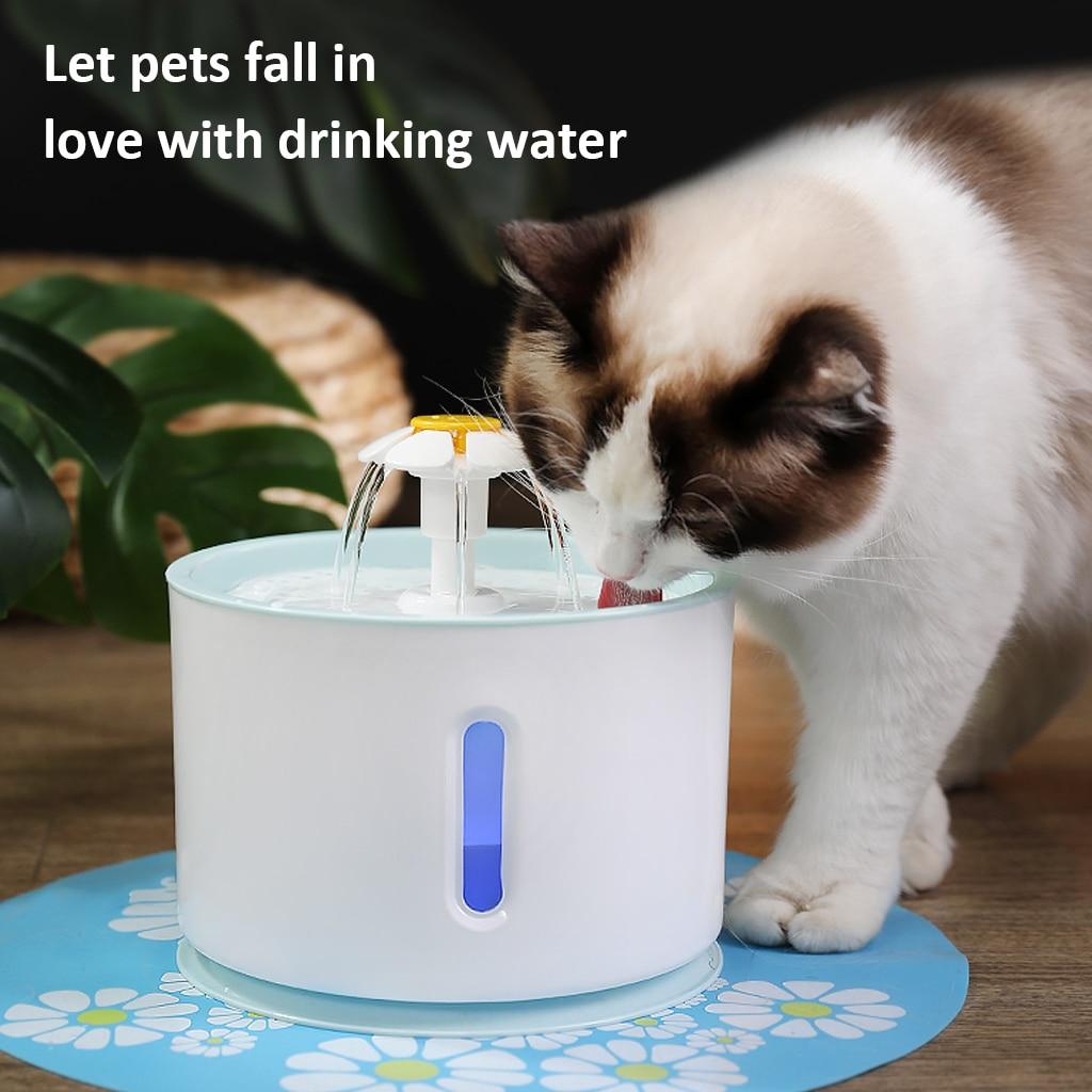 Fuente de agua para gato automática de 2,4 L, alimentador de bebedero silencioso eléctrico USB para perros y mascotas, tazón de fuente para beber, dispensador de agua