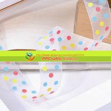"""Bella dots Organza Ribbon 1 """"25 MM Sheer Stampato Puntini colorati Per archi fare Spedizione Gratuita"""