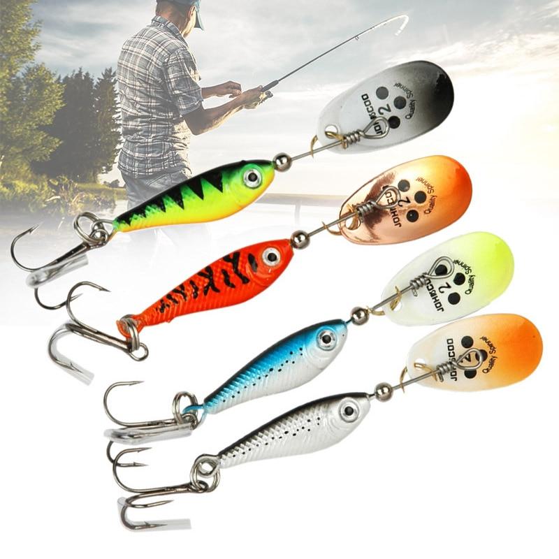 Nuevo 4 Uds Spinner cebo de pesca biónico Artificial carnada tipo cuchara de Metal Artificial cebos