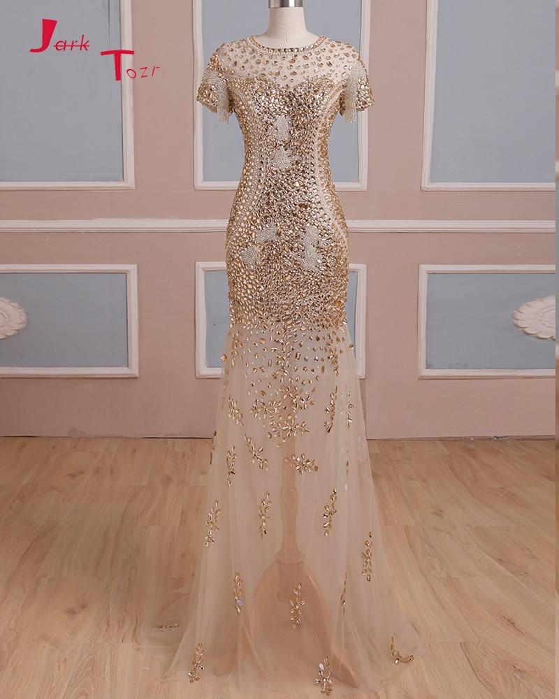 Jark Tozr vraie Photo robes formelles à manches courtes fermeture éclair Up brillant perlé cristal sirène robes De soirée Robe De soirée