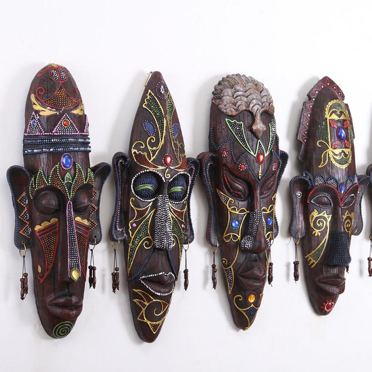 ديكور جدار الغرف المعيشة قلادة أقنعة الأفريقية الرجعية شريط جدارية الديكور الإبداعية جدار واحد الصلبة