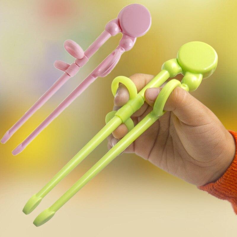 1 par de palillos de entrenamiento para niños, vajilla de plástico para principiantes, palillos de iluminación reutilizables para bebés de grado alimenticio