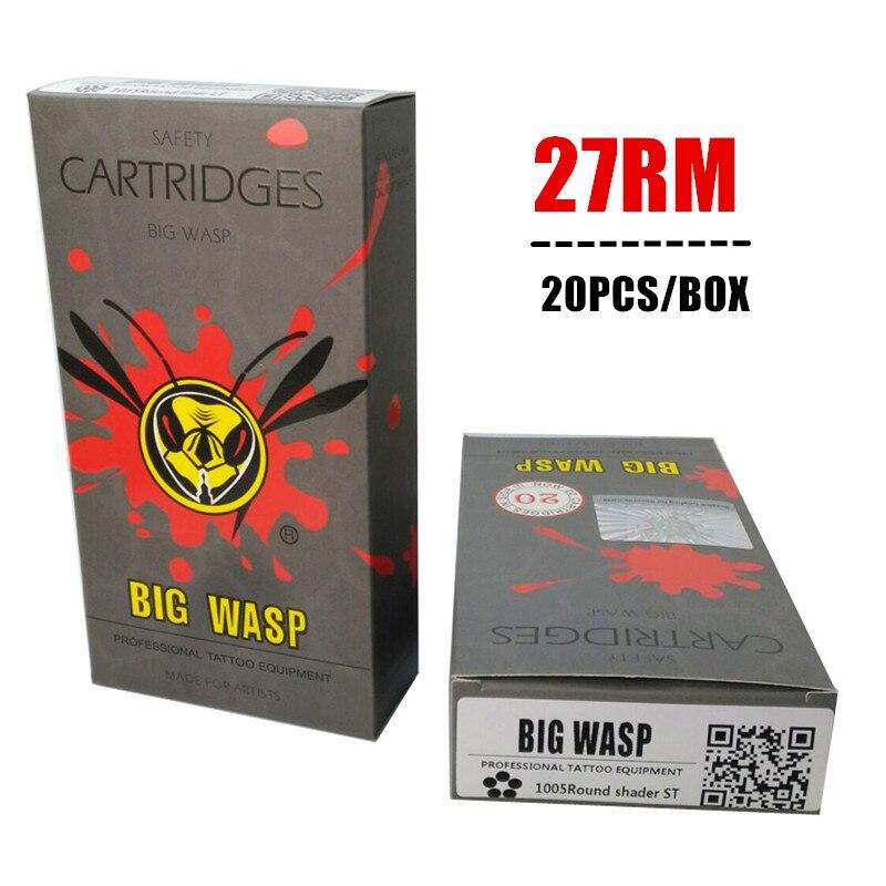 BIGWASP, Cartucho de aguja desechable gris, 27 curvo Magnum (1027RM) 20 unids/caja envío gratis
