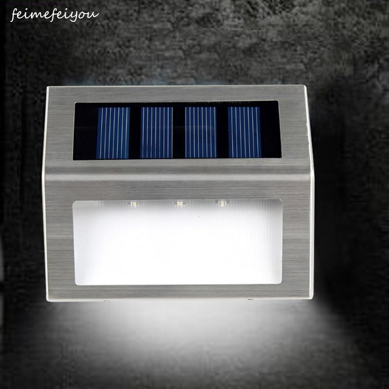 Luces solares de cubierta, luz para pasarela LED superbrillante, lámparas de seguridad impermeables de acero inoxidable para exteriores, para Patio, escaleras y jardín