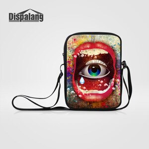 Dispalang Brand Mini Messenger Bags For Men Women 3D Lips Eye Print Travel Shoulder Bag Small Messenger Bags Kids School Bags