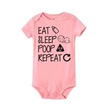 Newborn Summer romper Eat Sleep Poop Repeat Infant Toddler Baby Boy Girl Funny Letter Romper Jumpsui