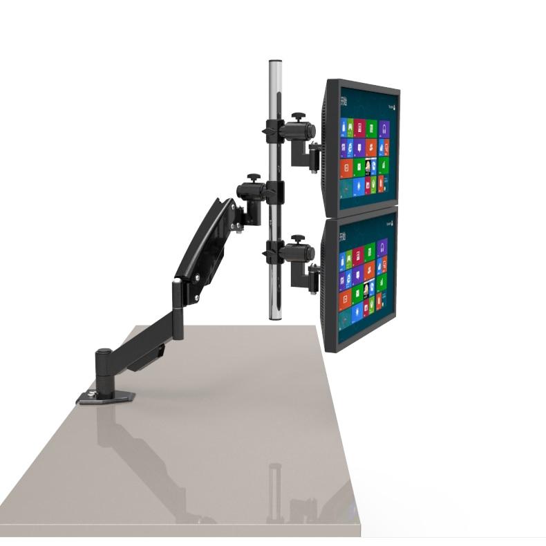 Soporte de resorte de Gas para Monitor, doble brazo para montaje de Monitor, soporte libre de conversión de pantalla Vertical Horizontal con movimiento completo
