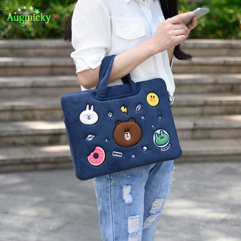 Купить с кэшбэком 11 12 13 14 15 inch Cute bear Notebook Sleeve Bag Cases Laptop Cover Pouch For Macbook Air Pro 13.3 Dell Sony Acer HP XiaoMi