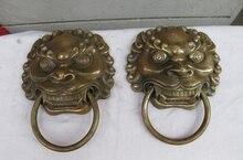 China old Bronze Copper Foo Dog Lion Head Palace Guardian Door Knocker Pair