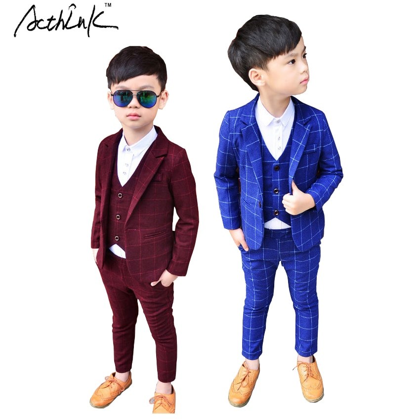 ActhInK 2020 New 3PCS Kids Plaid Wedding Blazer Suit Brand Flower Boys Formal Tuxedos School Suit Kids Spring Clothing Set, C298