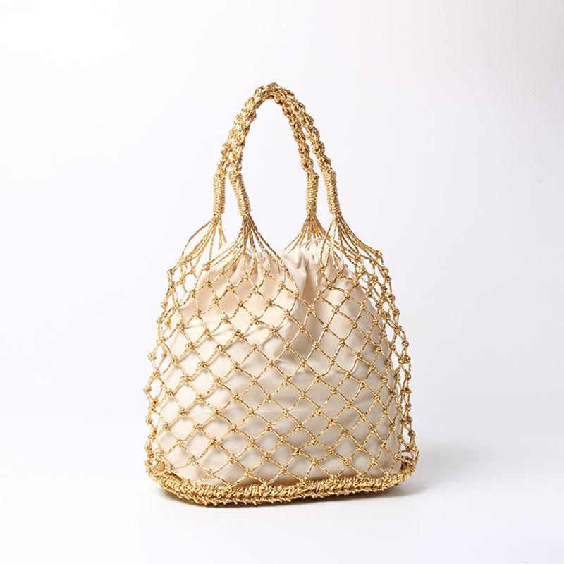 Соломенная Сумка золотого, серебристого, черного цвета, 3 цвета, яркие бумажные веревки, пустотелая тканая сумка с хлопковой подкладкой, женская сумка в сетку, пляжная сумка