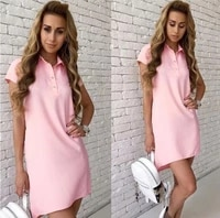 turn down collar dress women 2021 summer casual short sleeve pencil shirt tunic with pocket sunwear red vestidos