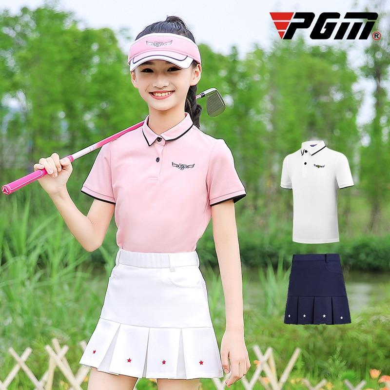 PGM Girls Golf verano faldas Set camisa de manga corta Falda plisada niños niñas adelgazamiento Fitness ropa deportiva de alta calidad D0786