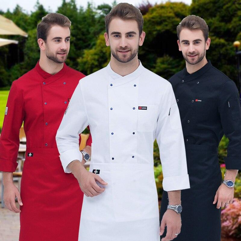 Новинка, куртка шеф-повара, форма повара ресторана для взрослых, одежда шеф-повара для кухни, одежда шеф-повара для мужчин, размера плюс, B-6267