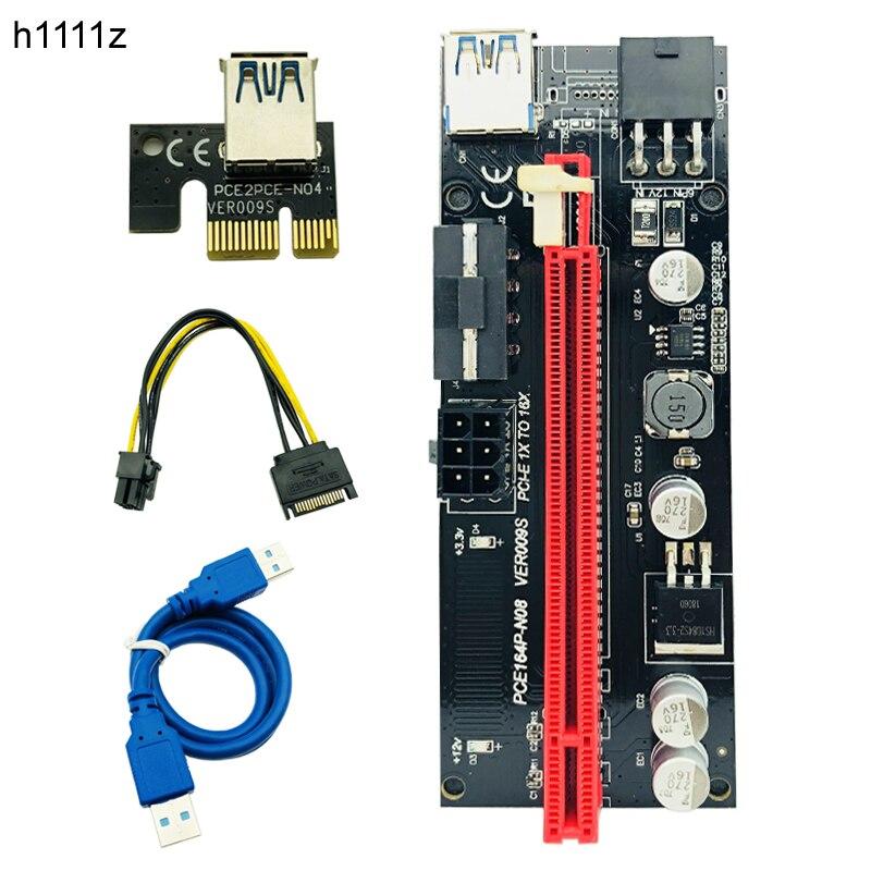 10 قطعة 009S PCIE PCI-E 1x إلى 16x PCI اكسبريس الناهض بطاقة موليكس 6pin امدادات الطاقة محول SATA إلى USB 3.0 كابل ل BTC ETH التعدين