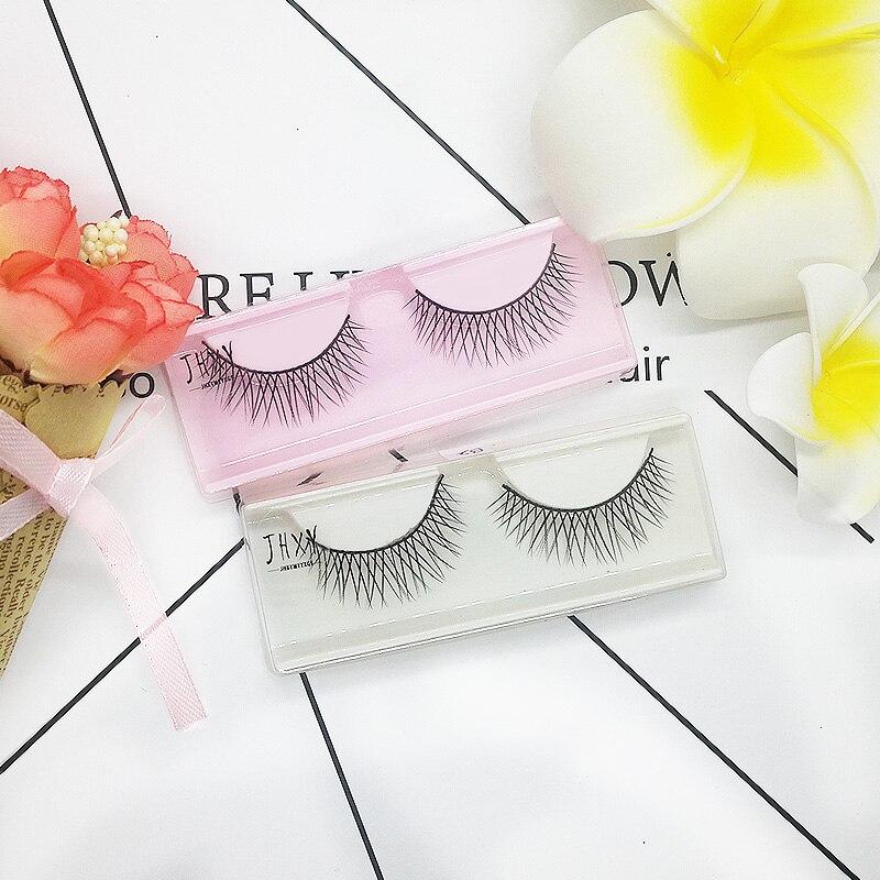 JHXY 1 par 3D natural extensión pestañas postizas Corea natural nude maquillaje herramientas hechas a mano pestañas postizas B2