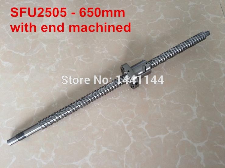 SFU2505 - 650mm ballscrew + ball nut  with BK20/BF20 end machined