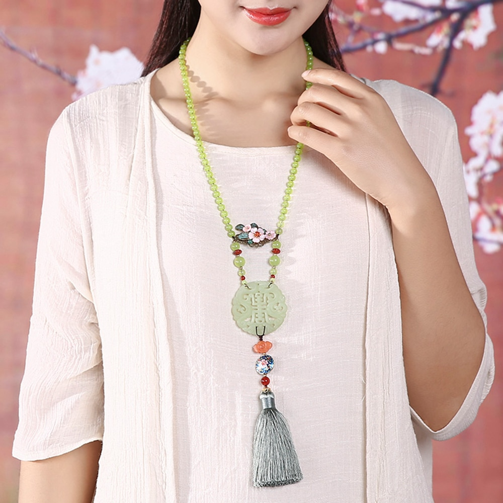 Ethnic Handmade Tassel Pendant Necklace Round Stone Alloy Flower Cloud Stone Colored Glass Bead Rope Female Accessories CL-17138