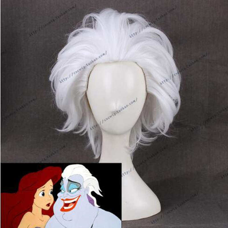 Ursula Cosplay Wig The little Mermaid White Short Synthetic Hair for Adult + Wig Cap