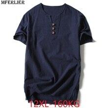 MFERLIER hommes été japon style noir t-shirt coton à manches courtes grande taille grand t-shirt 12XL 9XL 10XL col en v 8XL 11XL t-shirts 56 58