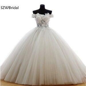 Vestido de noiva Fashion Ball gown Wedding dresses 2021 Lace Beaded White Illusion Wedding gowns Plus size robe de mariee