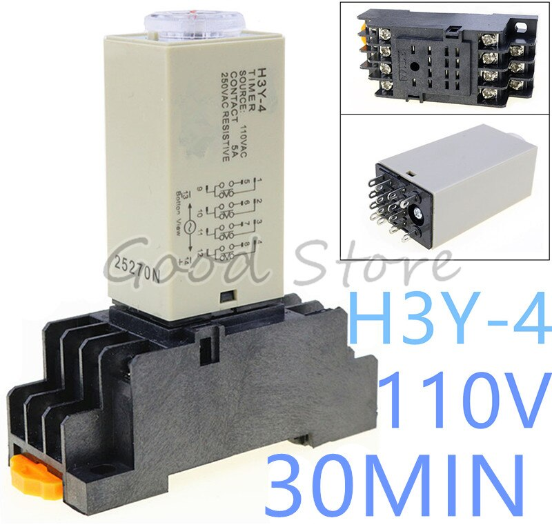 10Sets H3Y-4 0-30Min 110VAC Power On Time Delay Relay Solid-State Timer ,4PDT,14Pins & Socket