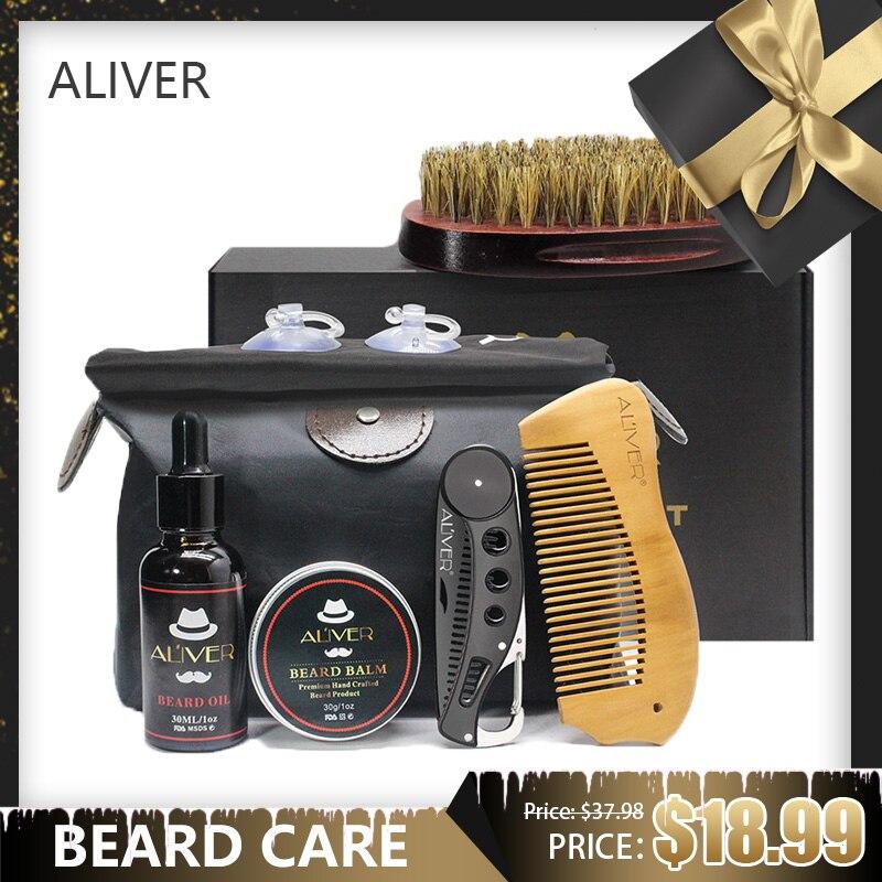 ALIVER Beard Barba Grooming Beard Set Beard Kit Beard Oil Balm Beard Brush Comb Bib Storage Bag Styling Beard Care Set 7PCS/SET