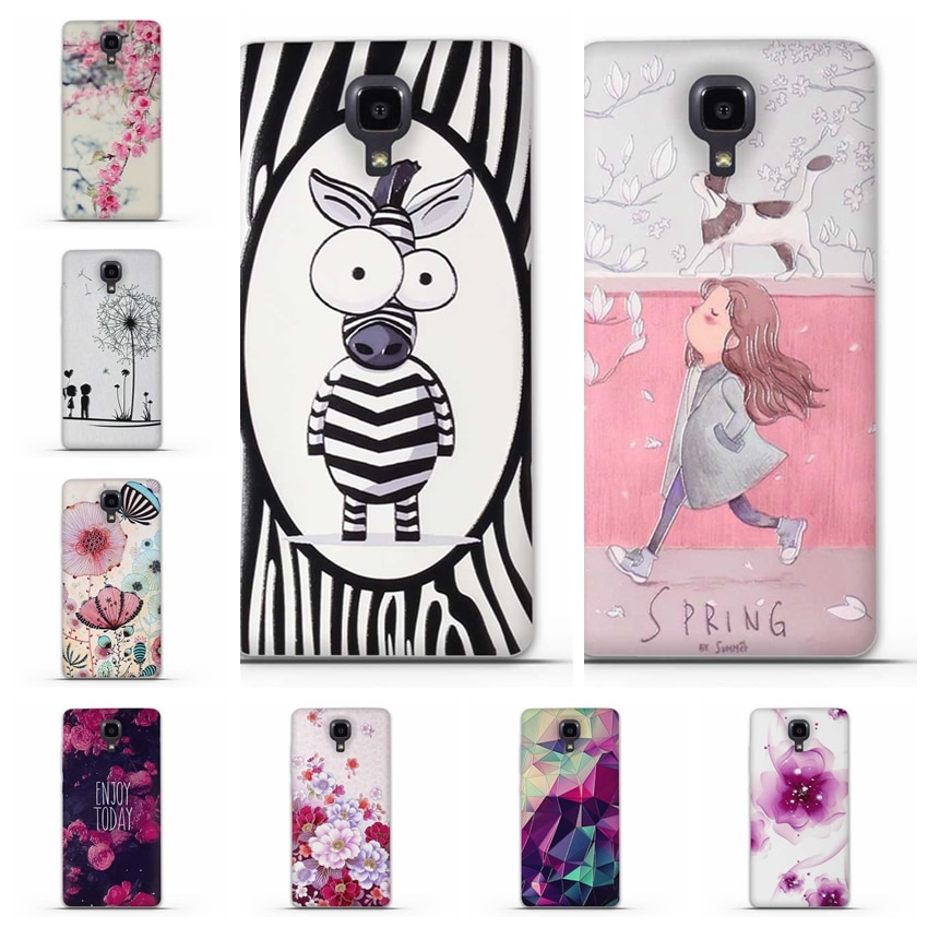 Funda suave para Xiaomi mi 4, Funda 3D de silicona para Xiaomi mi 4, Funda de teléfono con estampado floral de TPU para Xiaomi M4 Carcasas