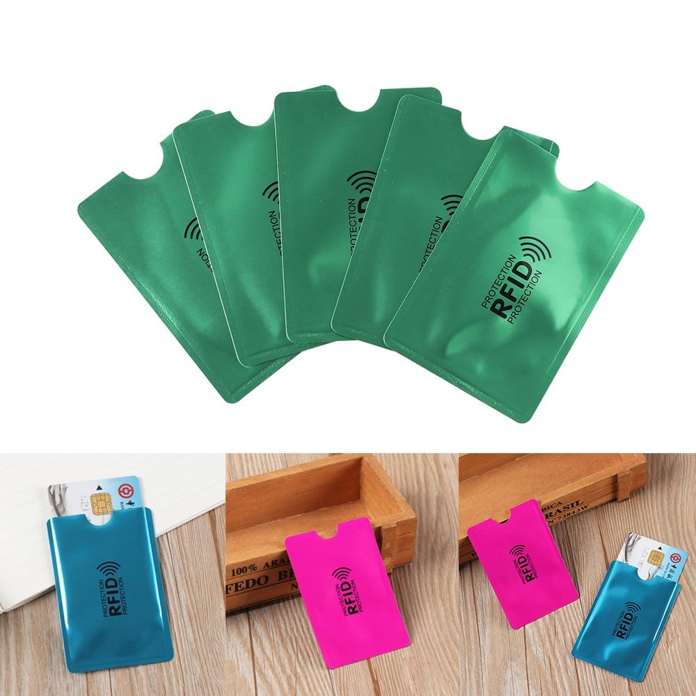 5 unids/pack Anti RFID bloqueo cartera lector Identificación de bloqueo de tarjeta bancaria caso Anti-robo de titular de la tarjeta de crédito de protección de aluminio caliente