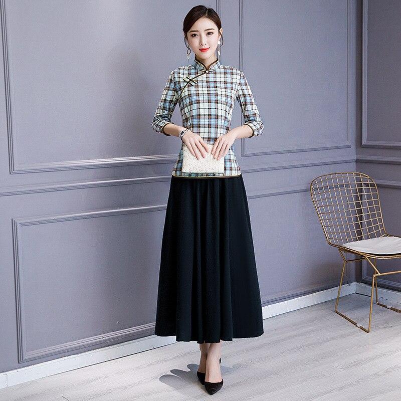Conjunto de falda de blusa azul claro Vintage chino camisa de mujer cuello mandarín 2 piezas cheongsam ropa de verano corto Qipao vestido S-3XL