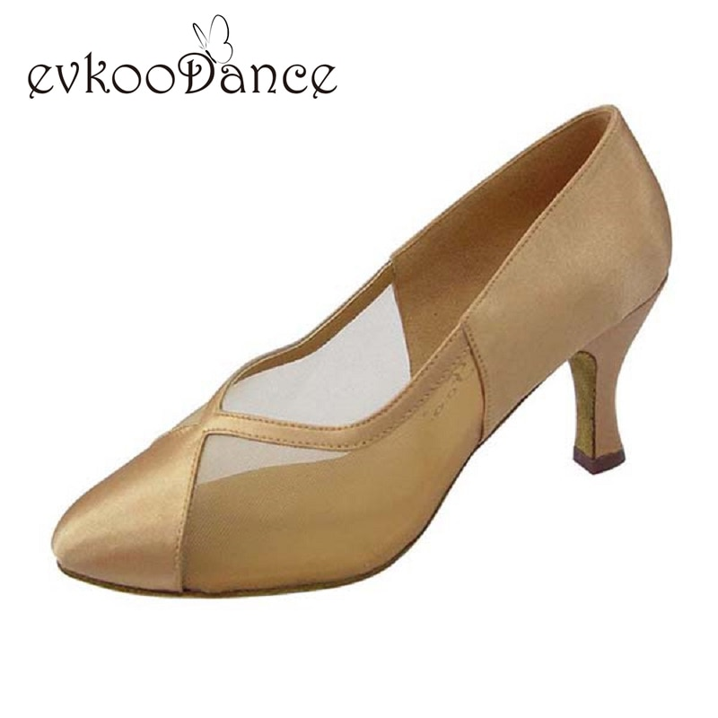 Khaki Tan Black Satin Salsa Size US 4-12 Zapatos De Baile Heel Height 7cm Comfortable Womens Practice Ballroom Dance Shoes NB015