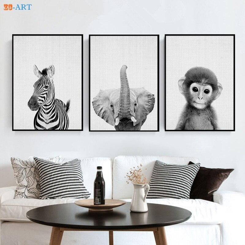 Zebra macaco elefante impressões imagem de animais africanos preto e branco arte da parede minimalista pintura em tela crianças decoração do quarto emoldurado