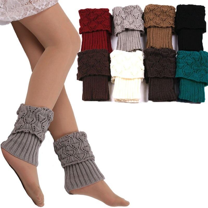 Awaytr 2019, gran oferta, calentadores de piernas de Invierno para mujer, lana Acrylon, ganchillo hueco, calcetines de punto, calentadores, puños