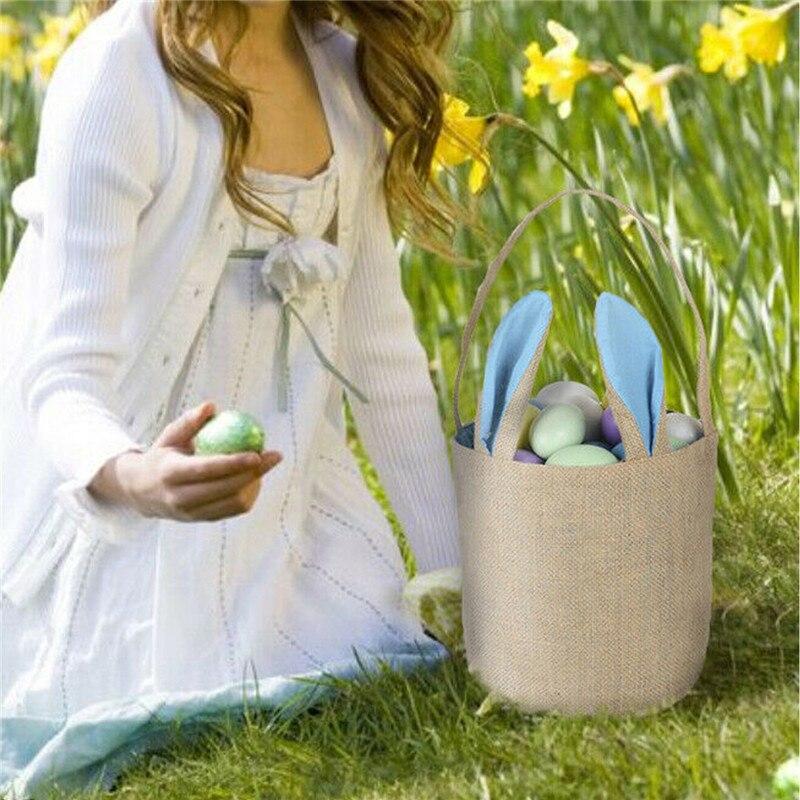 NOENNAME_NULL de oreja conejo gracioso regalo de huevo canasto yute arpillera regalo de conejo bolsa de bolsos