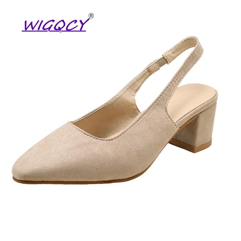 Zapatos de tacón de gamuza Beige con banda elástica elegante, zapatos de mujer de boca baja, zapatos de tacón cuadrado para oficina o citas de mujer rebelde
