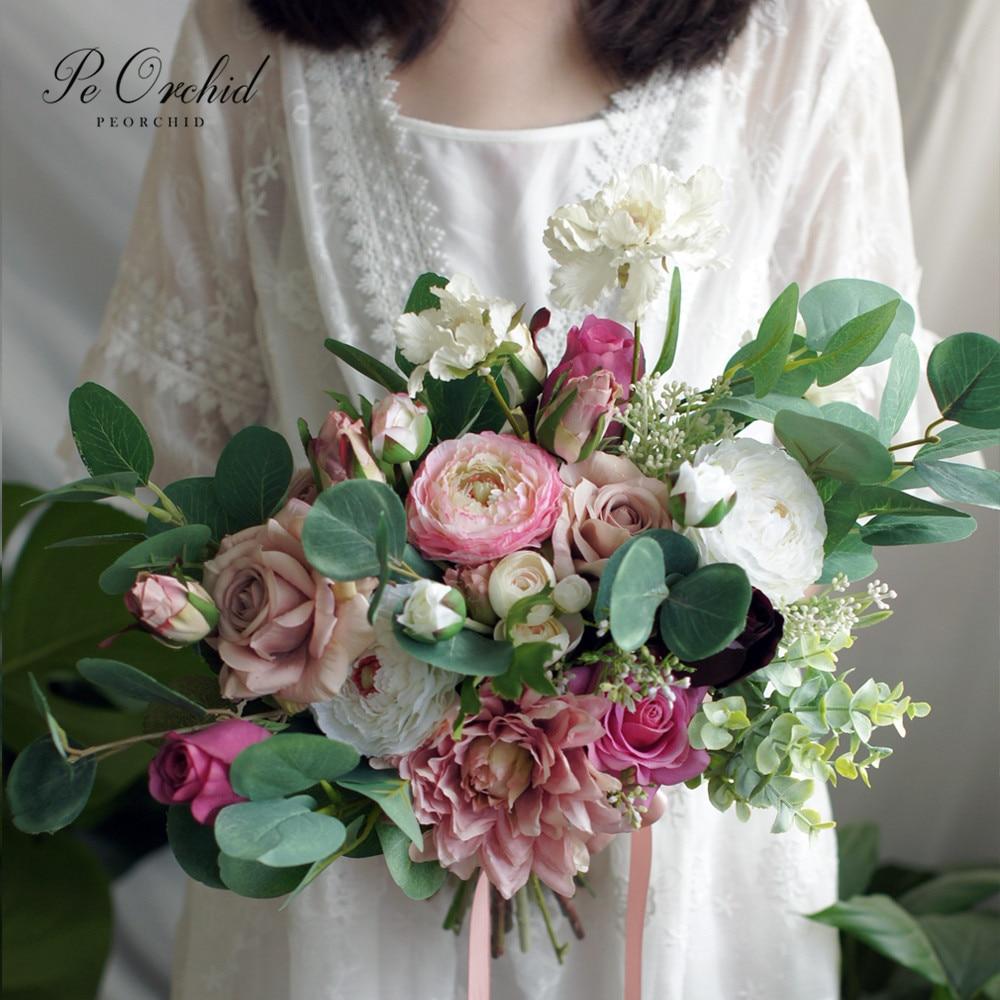 Индивидуальный розовый букет невесты PEORCHID, искусственная эвкалиптная Роза, Свадебный букет невесты в Корейском стиле, букет подружки невес...