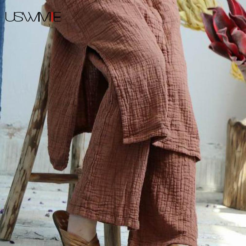 USWMIE 2020 الصيف بنطلون المرأة الجديدة الأدب بلون مرونة الخصر جيوب فضفاضة الراحة مهرج بنطال ذو قصة أرجل واسعة