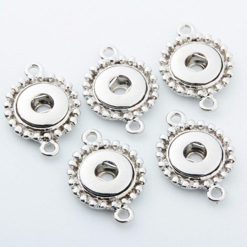 20 pçs prata única orelha & orelhas duplas botão snap base jóias pingente acessórios apto para 12mm diy snap button charme