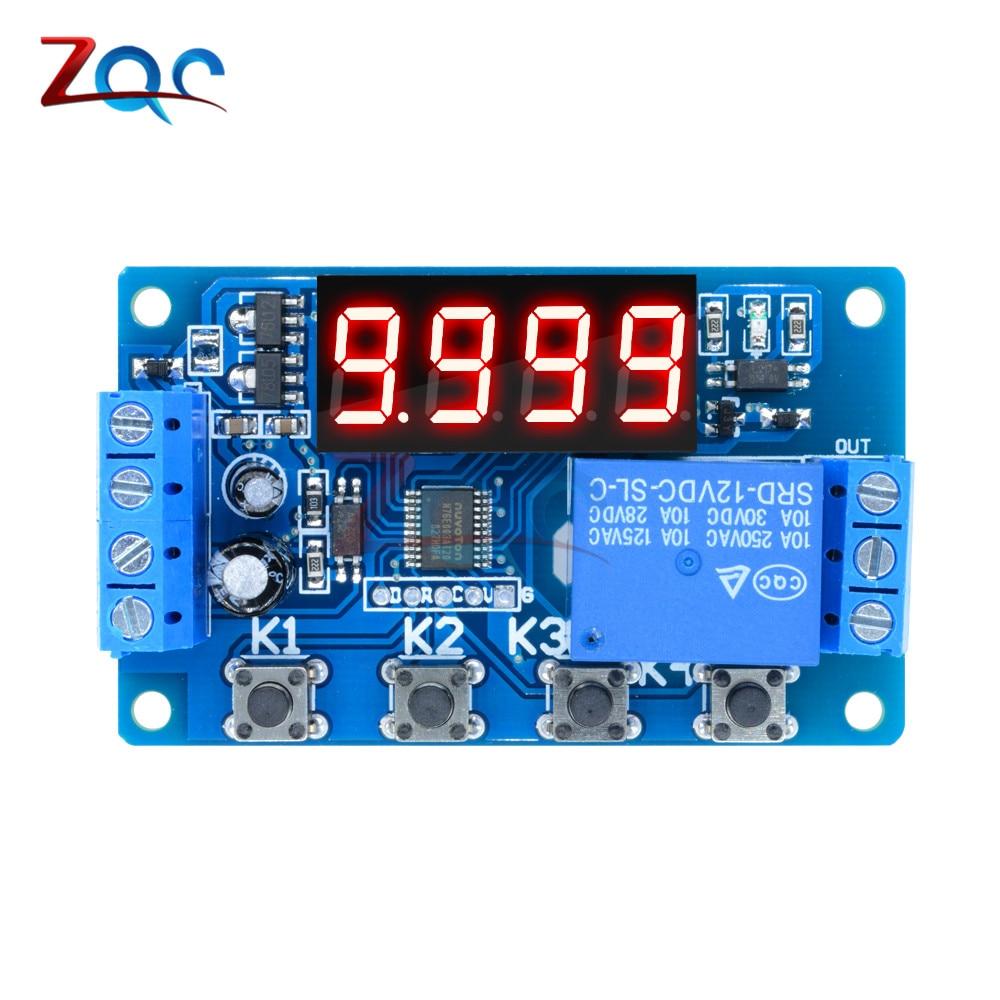 Цифровой реле задержки постоянного тока, 5 В, 12 В, 24 В, 10 А, светодиодный Многофункциональный триггер, таймер, Переключатель цикла управления, ...