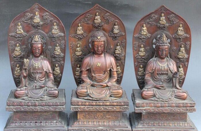 Huij 006466 Tíbet Budismo Occidental 3 Dios de Bronce Dorado Shakyamuni kwan-yin Buddha Statue Set